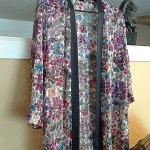 Tops - Floral Sheer Shaw, Cloak, Coverup
